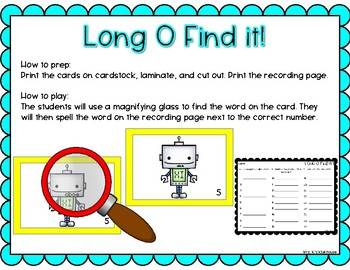 Long O Find it! Center Activity