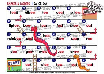 Long O Game: Snakes and Ladders (o_e, oa, oe, ow)