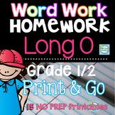 Long O Word Work ~ Long Vowels Homework or Morning Work