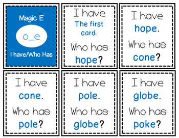 Long O I have/Who Has (oa, ow, o_e)