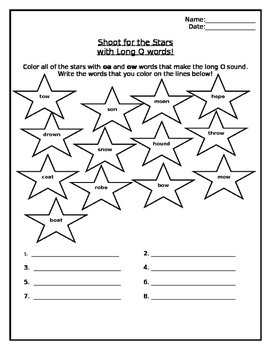 Long O - OA, OW Color the Stars Worksheet
