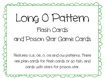 Long O Pattern Flash Cards and Poison Star