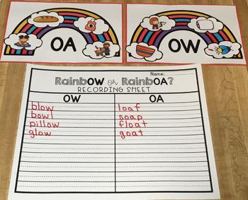 Long O Sort Vowel Pairs OW OA 1st Grade Literacy Center
