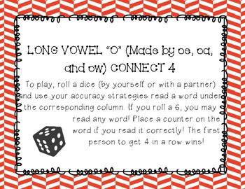 Long O (Spelled oa, ow, and oe) Connect 4