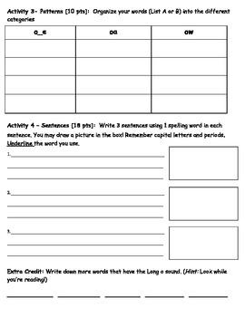 Long O Spelling Packet