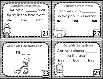 Long O Task Cards - Scoot Game