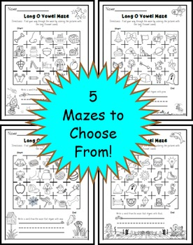 Long O Vowel Maze Practice Printables