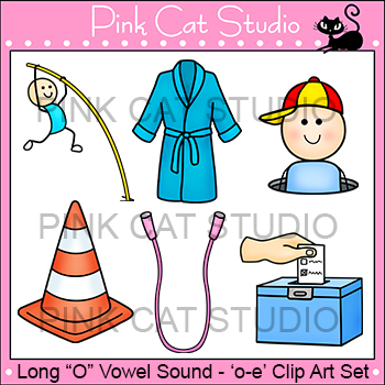 Long O Vowel Sound Spelled 'o-e' Phonics Clip Art Set - Commercial Use Okay