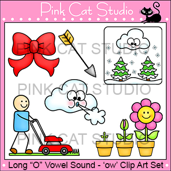 Long O Vowel Sound Spelled 'ow' Phonics Clip Art  - bow, g