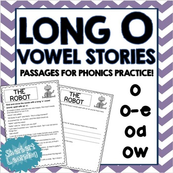 Long O Vowel Sounds - Reading Passages for Phonics Practice! - o, o-e, oa, ow