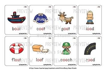 Long O Vowel Team Flash Cards