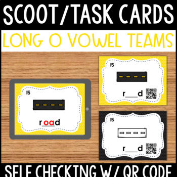 Long O Vowel Team Task Cards with Self Checking QR Code