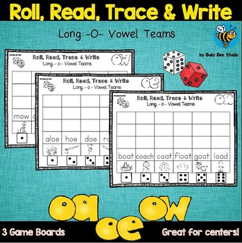 Long O Vowel Teams Game: Roll, Read and Trace