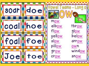 Long O Vowel Teams OA, OE, OW Power Points & Printables