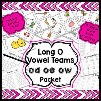 Long O Vowel Teams Word Work Packet