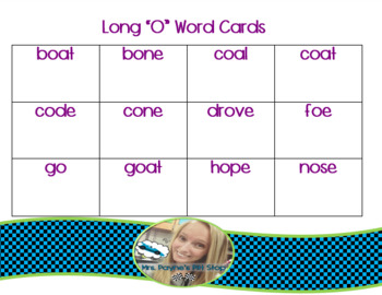 Long O Word Cards