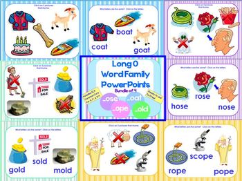 Long O Word Family PowerPoints Bundle Reading/Phonics for K, 1st or 2nd (CCS)