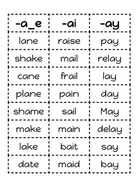 Long Vowel Word Sort - Partner Game - A, E, I, O, U