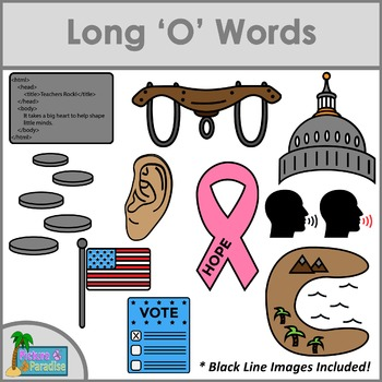 Long O Words Clip Art