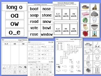 Long O Worksheets and Activities: Vowel Teams OA, OW, O_E