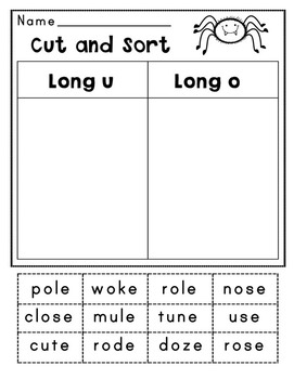 Long O and Long U Word Sorts and Word Work Activities: Print and Go!