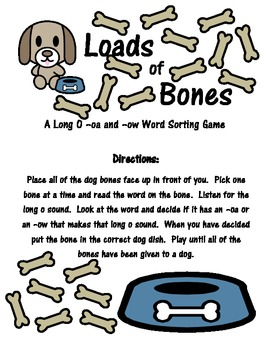 Long O -oa and -ow Word Sort: Loads of Bones