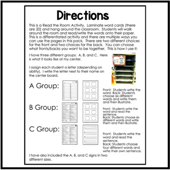 Long O- oa/ow Differentiated Read the Room