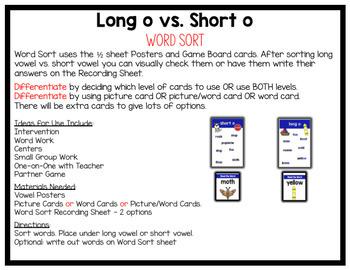 Long O vs. Short O Vowel Word Work