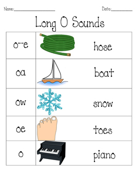 Long O word activity book