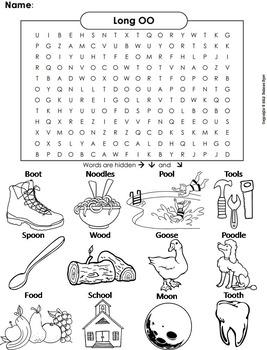 Long OO Sounds Worksheet: Vowel Team Word Search (OO Vowel Digraph)