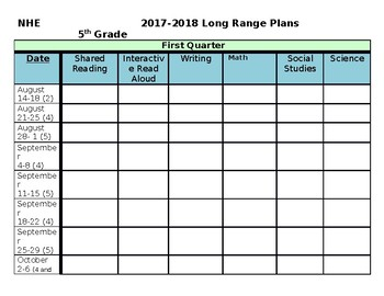 Long range lesson plan template 2017 2018 by crescent for Week long lesson plan template
