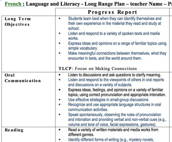 Long Range Plan – Junior – Grade 5/6 All subjects - Ontario Curriculum