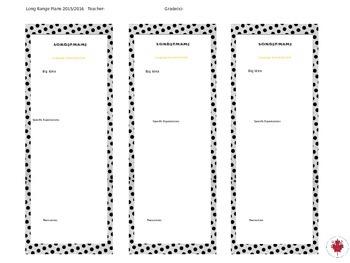 Long Range Planner Template - Easy to edit - Grade 1-8