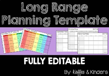 Long Range Planner Template - FULLY EDITABLE