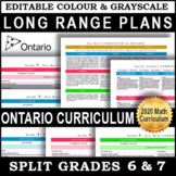 EDITABLE Long Range Plans Ontario | Split Grades 6 and 7 | New Math 2020 | SALE!