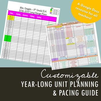 *EDITABLE* Personalized Long-Range Plans - Unit Pacing Guide - YEAR LONG Outline