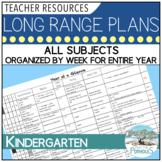 Long Range Plans for Full Day Kindergarten - all subjects organized by week!