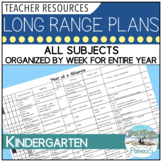 Long Range Plans for Full Day Kindergarten - all subjects organized by week!