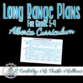 Long Range Plans for Grade 5-9 (Alberta Curriculum)