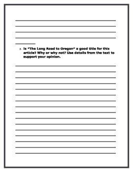 Long Road to Oregon Reader Response Journal