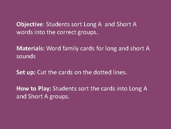Long/Short A Sound Sort