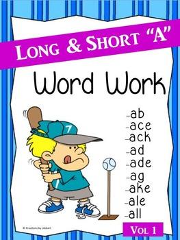 Long & Short A Word Work (Phonics - Word Families) Vol. 1