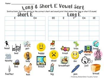 Long & Short E Vowel Sort (w/ SOUND-PRINTS)