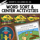 Long & Short E Word Sorts and Center Activities (Short E a