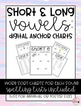 Long + Short Vowel Digital Anchor Charts + Word Lists