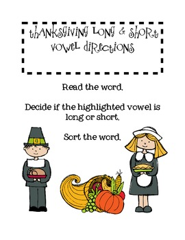 Long & Short Vowel Review for Thanksgiving