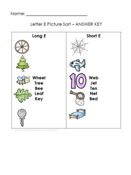 Short and Long Vowel Sort Worksheet   Long and Short Vowel Sorts with Pictures