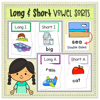 Long & Short Vowel Word Sorts with Cards & Mats | Double Sided | Literacy Center