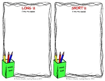 Long & Short Vowel Sound ~ U {sound sort and recording activity}