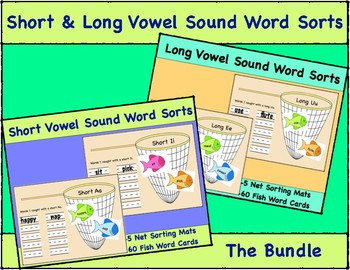 Long & Short Vowel Sound Word Sort Bundle, 10 Net Mats and 120 Fish Word Cards
